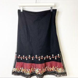 Anthropologie Odille Skirt With Embroidery Size 2